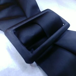 Vintage black,satin each belt, covered buckle